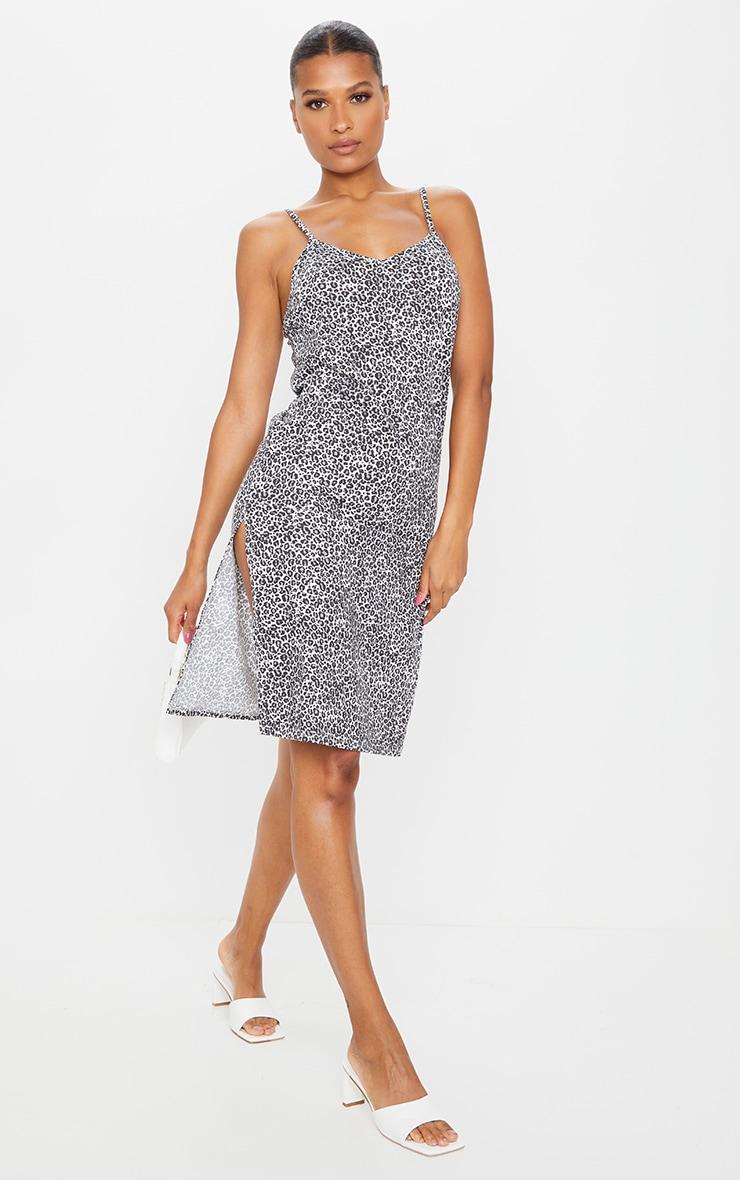 Black Leopard Jersey Split Cami Midi Dress 1
