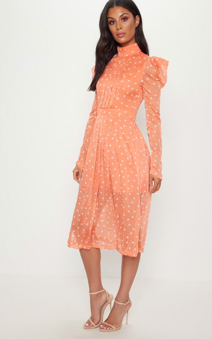 Orange Polka Dot Chiffon Midi Skater Dress 4