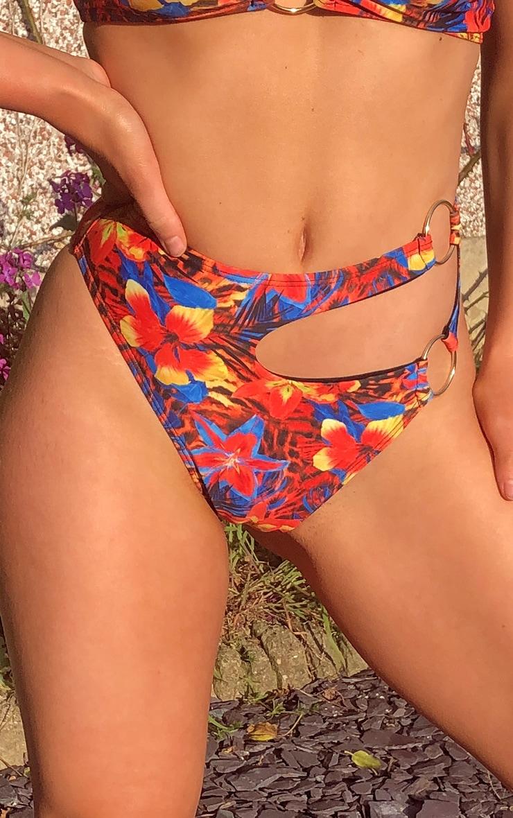 Multi Print Minimal Ring Cut Out Bikini Bottoms 5