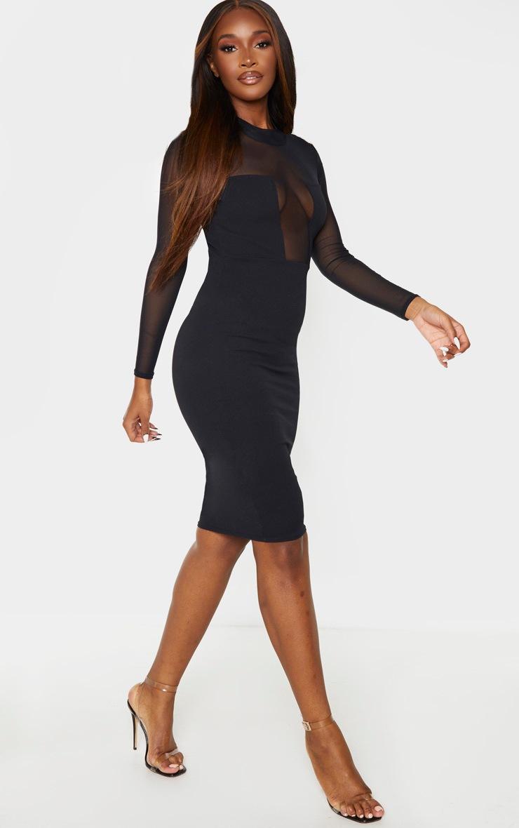 Black Mesh Square Insert High Neck Midi Dress 4
