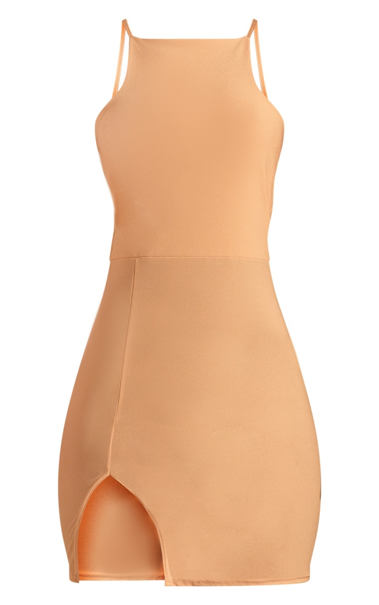 Cream 90's Neck Split Front Bodycon Dress  3