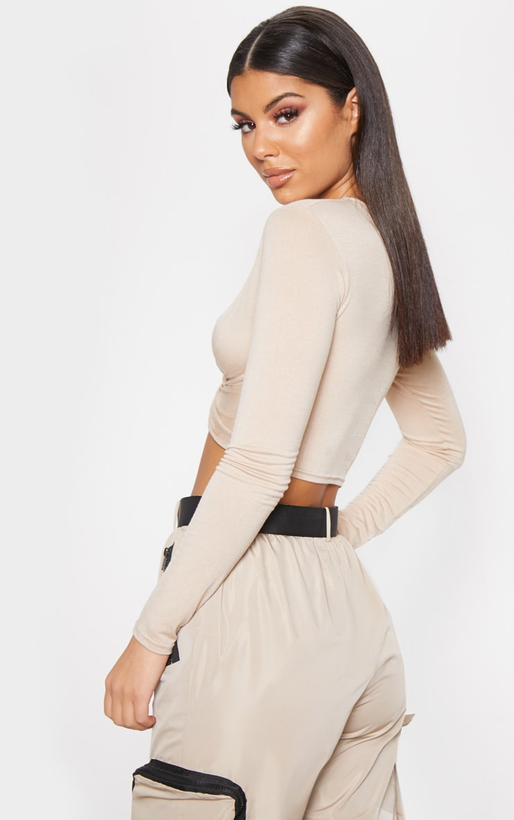 Stone Jersey Long Sleeve Knot Hem Crop Top 2