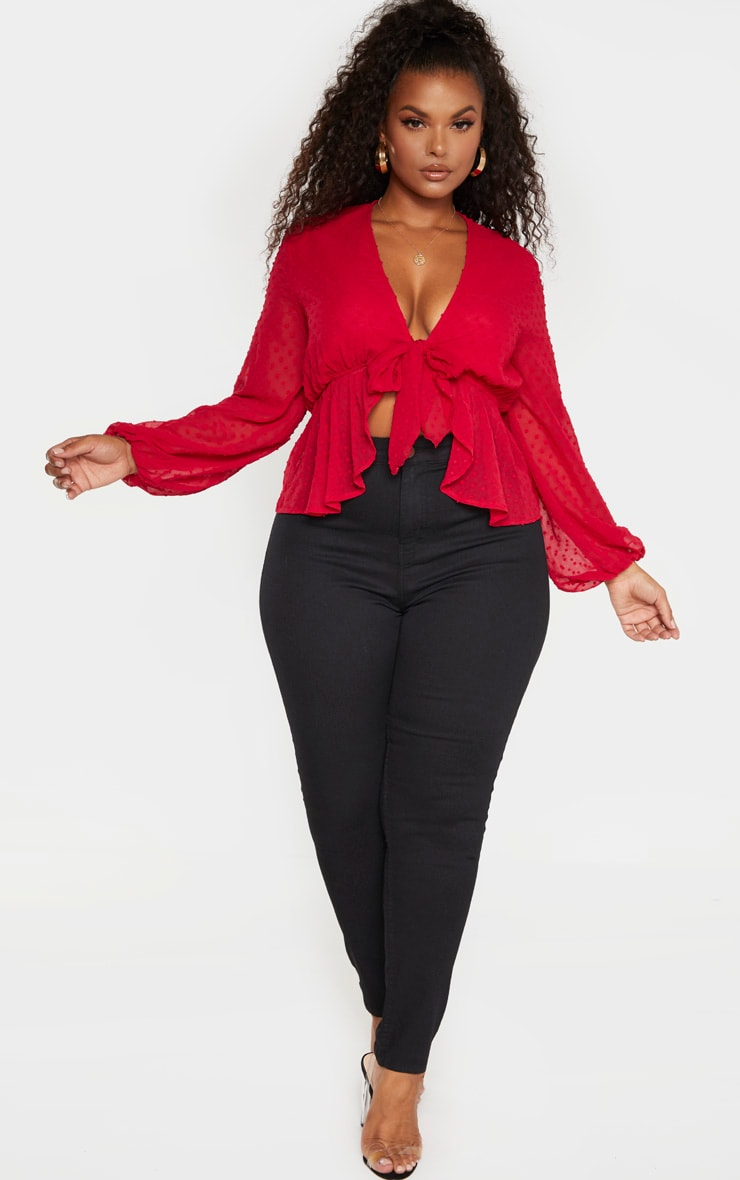 Plus Scarlet Dobby Mesh Tie Front Blouse 4