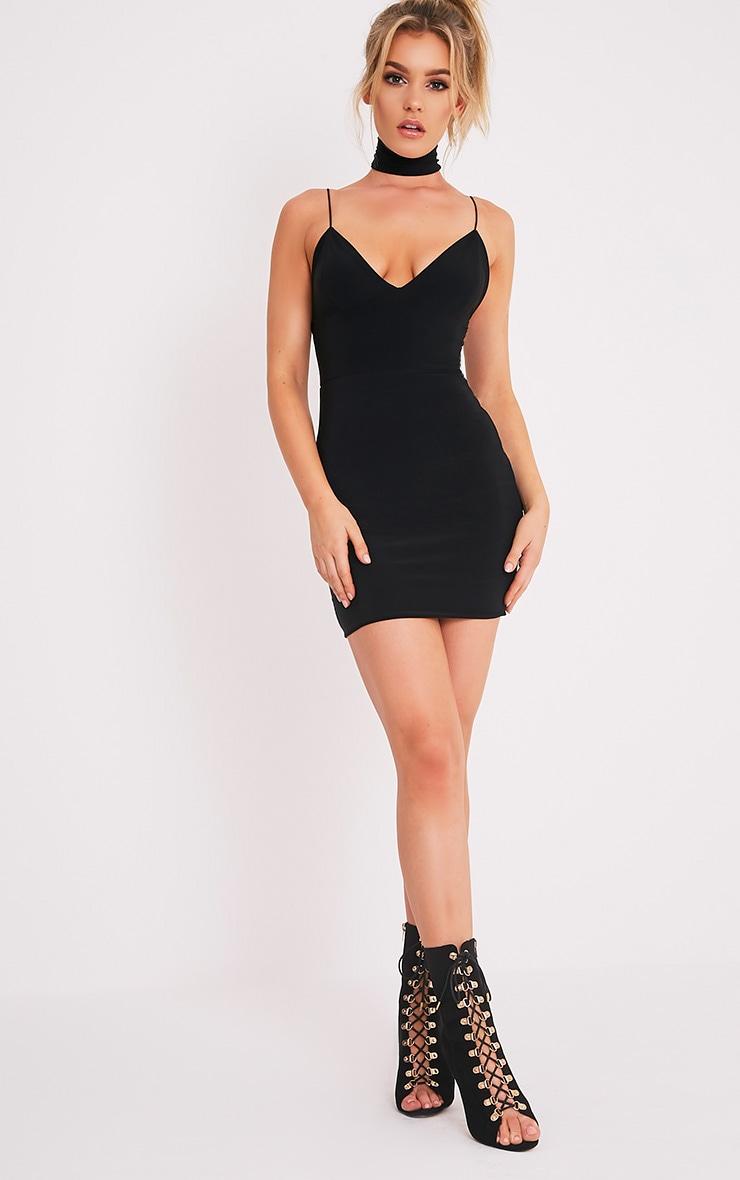 Ayishah robe moulante plongeante à bretelles près du corps noire 5