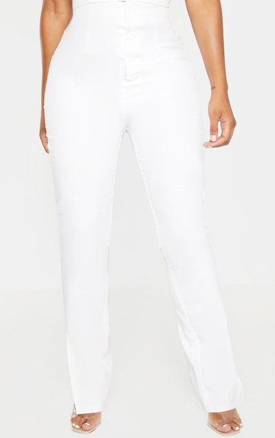 Shape White Button Detail Straight Leg Trouser