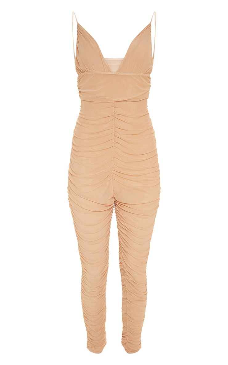 Nude Second Skin Ruched Mesh Jumpsuit 3