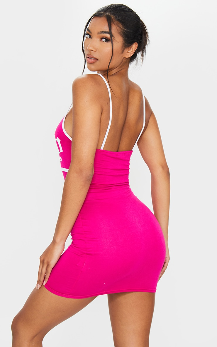 Hot Pink Baby Slogan Print Contrast Strappy Jersey Bodycon Dress 2