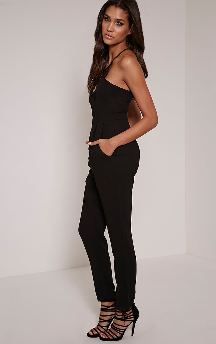 Aishina Black Lace Up Insert Jumpsuit 3