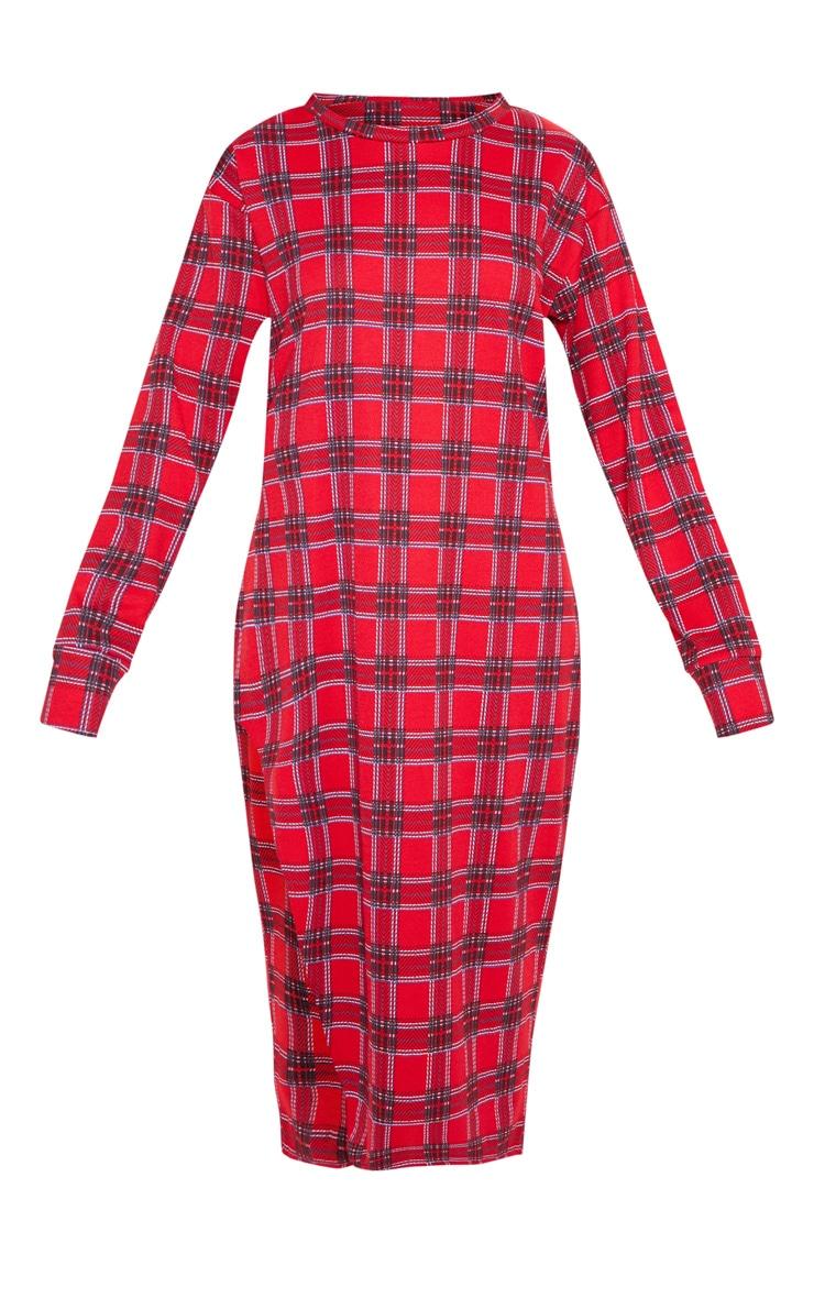 Red Tartan Print Midi Jumper Dress 3