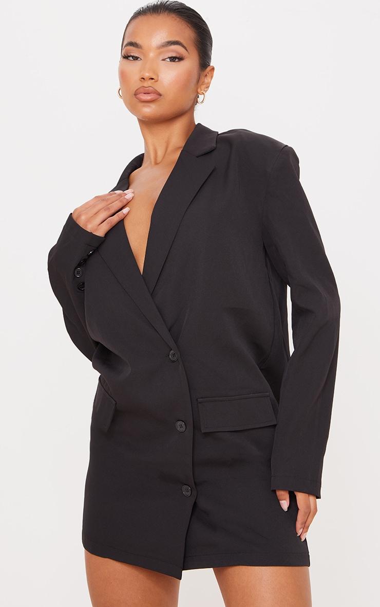 Black Woven Pocket Detail Long Sleeve Blazer Dress 1