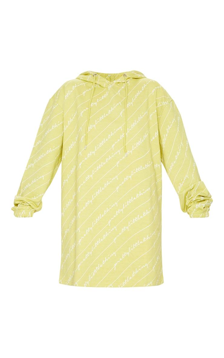 PRETTYLITTLETHING Lime Slogan Hoodie Dress 5