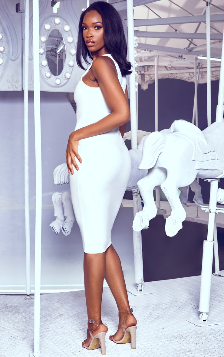 White Crew Neck Midi Dress 2