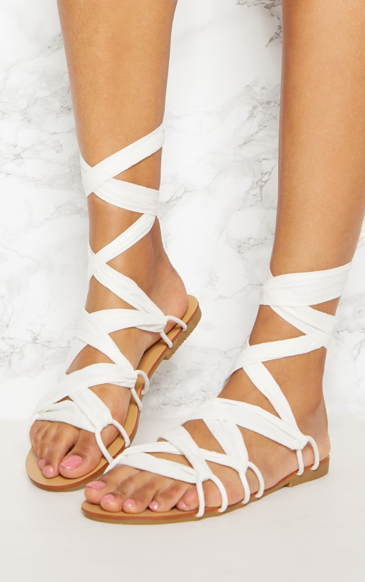 White Ghillie Lace Up Sandal 2