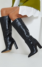Black Wide Fit Croc PU Knee High Point Block Heel Boots 1