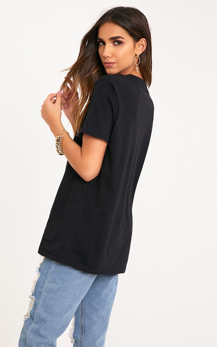 Hypnotic Slogan Black Gloss Print Plunge T Shirt 2