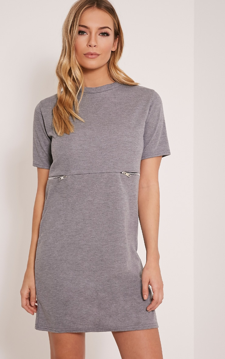 Kendie Grey Zip Detail T Shirt Dress 1