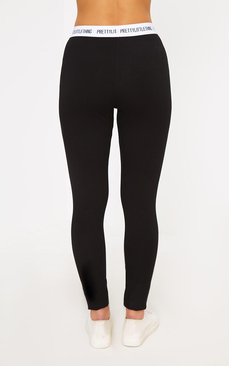PRETTYLITTLETHING Petite Black Slogan Waistband Leggings 3