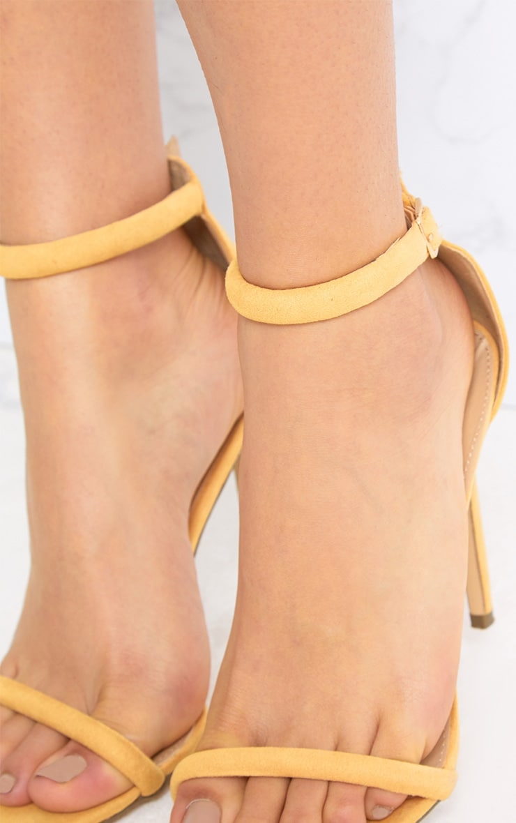 Ruby Yellow Square Toe Strappy Heels 5
