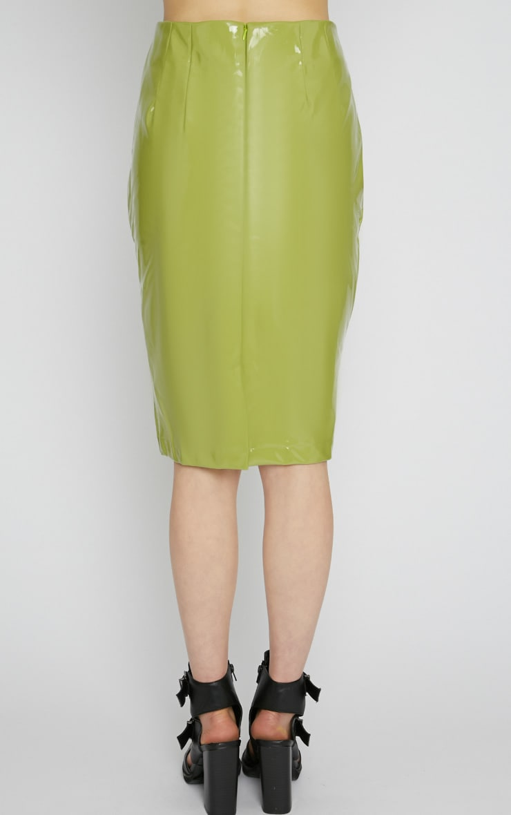 Kortney Green High Shine PVC Midi Skirt 2