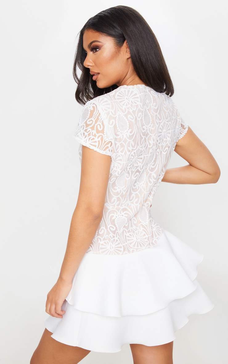 White Embroidered Tiered Skirt Skater Dress 2
