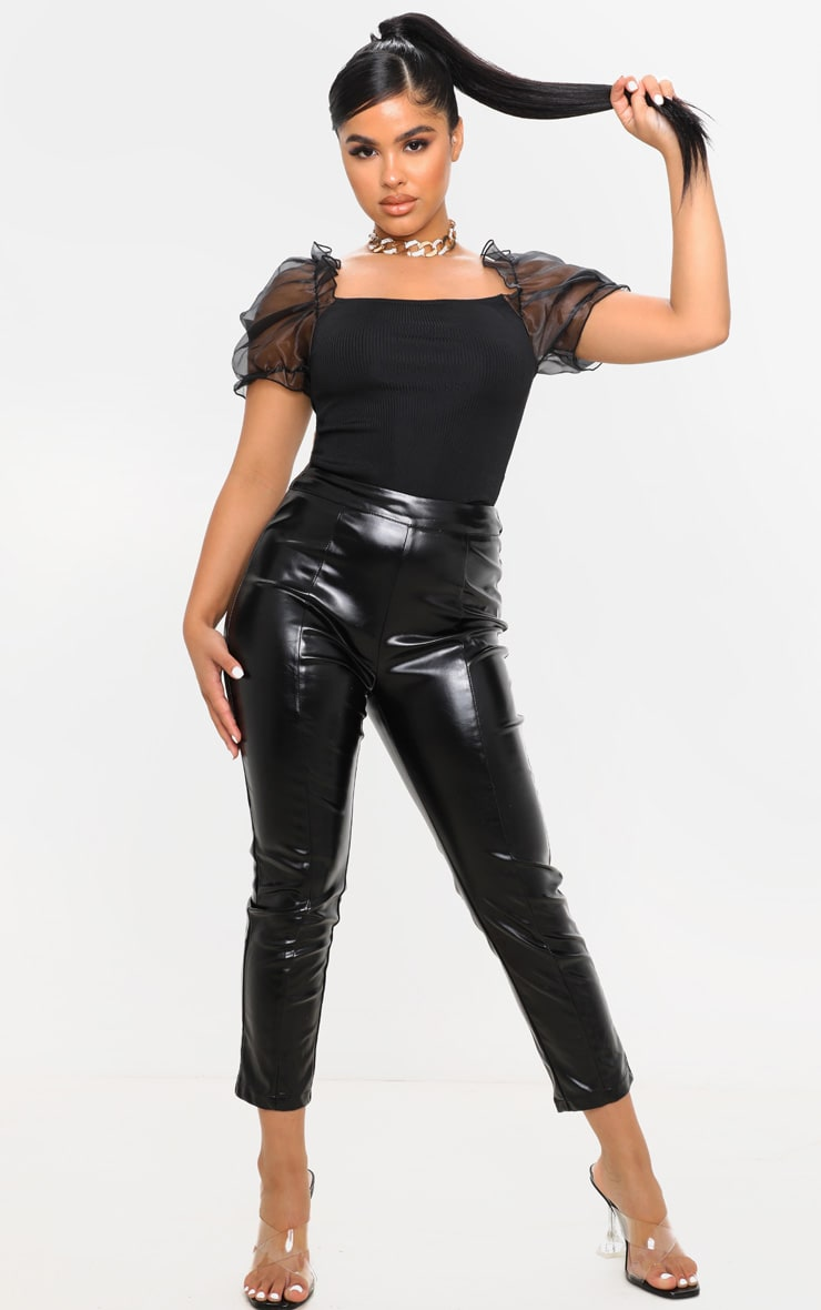 Petite Black Ribbed Organza Sleeve Crop Top 4