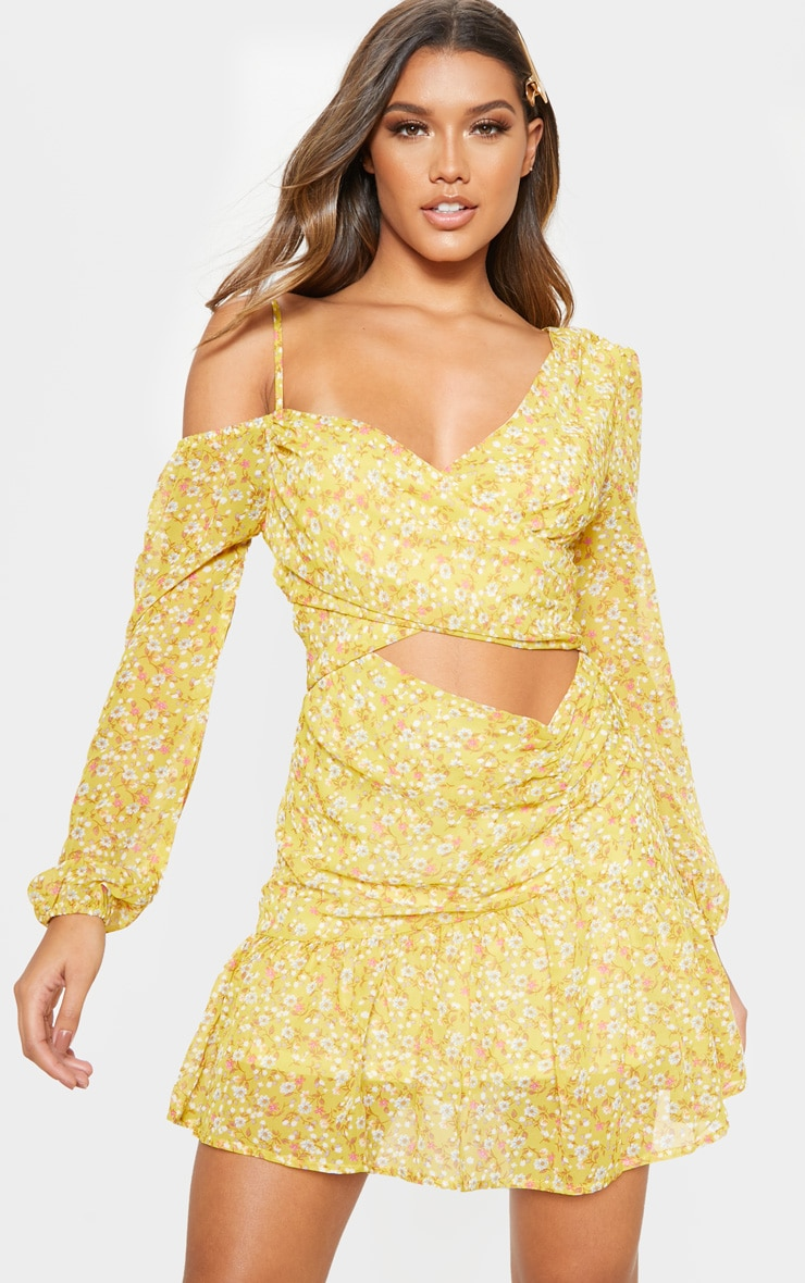 Lemon Floral Print Chiffon Cut Out Skater Dress 1