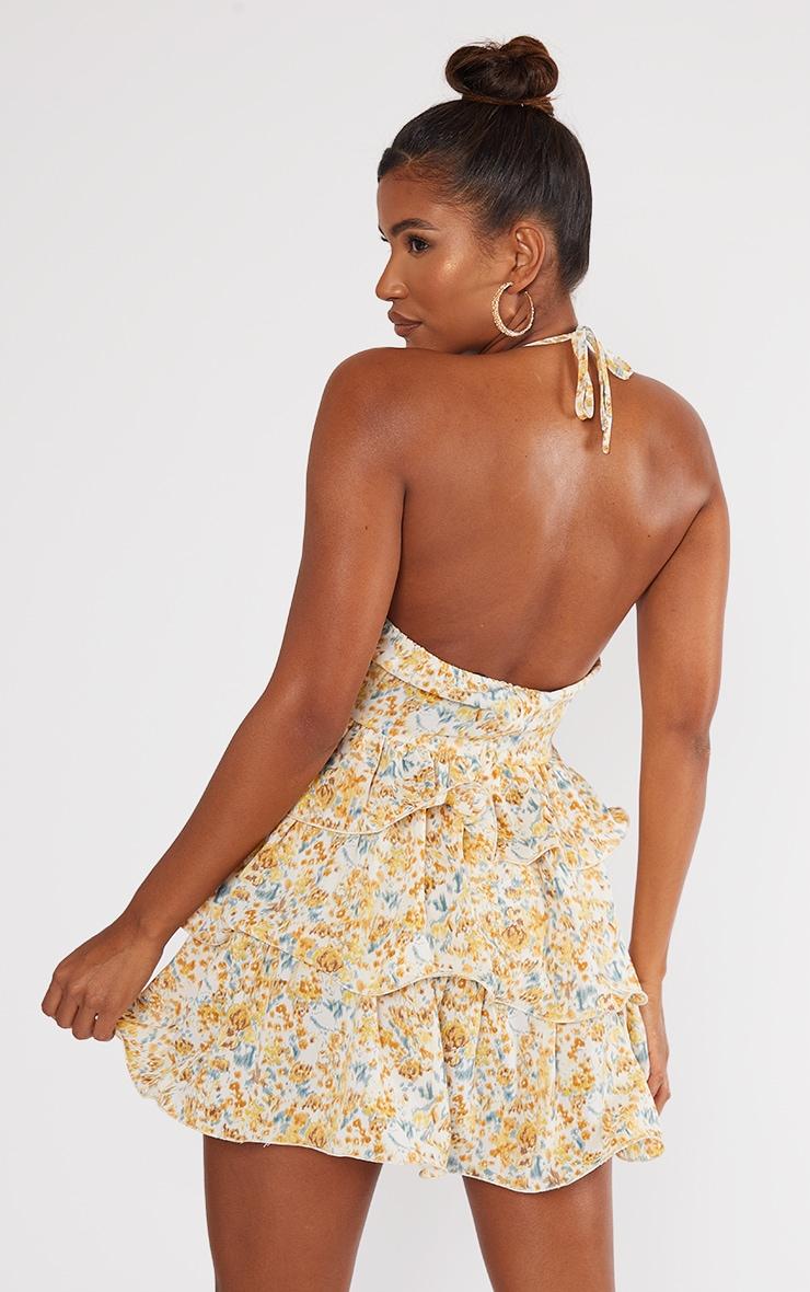 Yellow Printed Tiered Skirt Halterneck Skater Dress 2