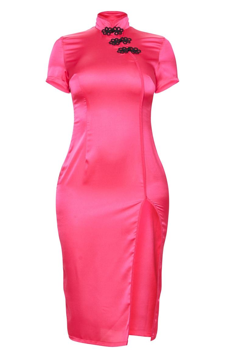 Hot Pink Oriental Short Sleeve Midi Dress 5