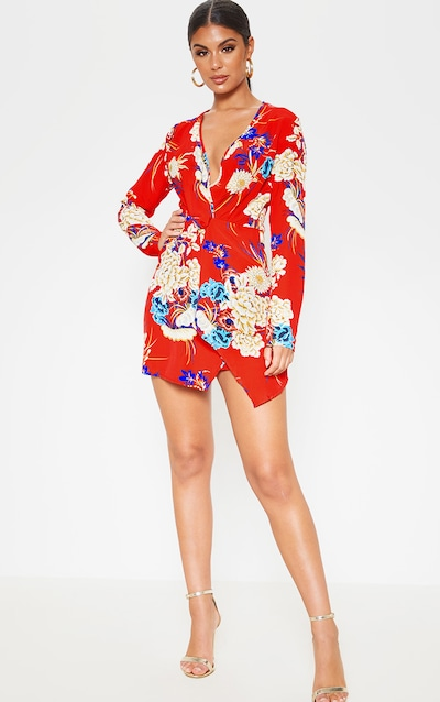Red Floral Long Sleeve Wrap Dress