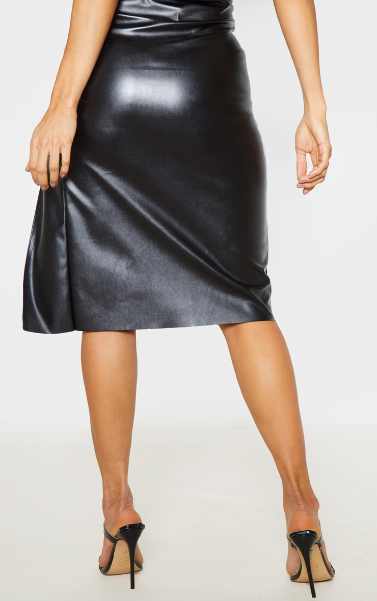 Black Faux Leather Extreme Split Midi Skirt  4