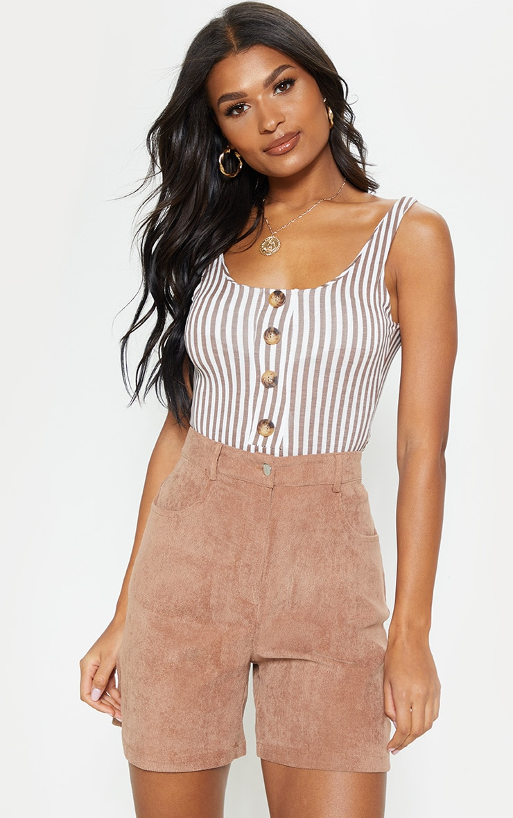 Brown Stripe Button Up Sleeveless Bodysuit 5