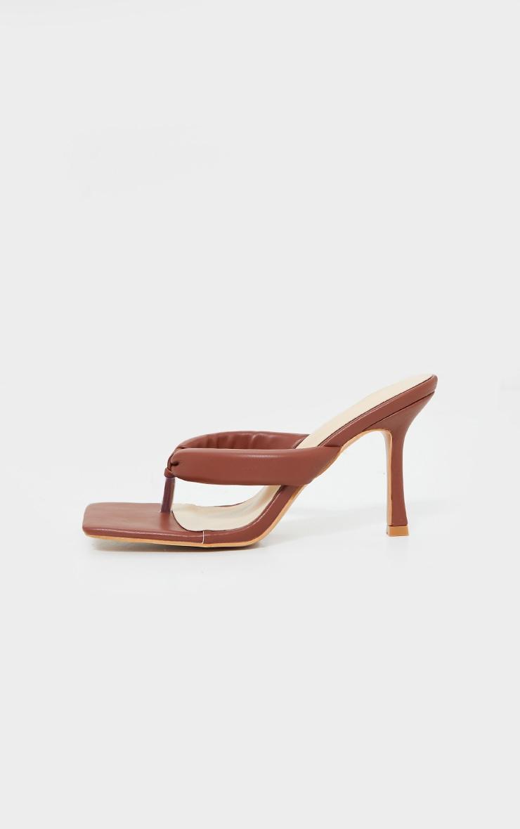 Chocolate PU Padded Toe Thong Mid Heeled Mules 4