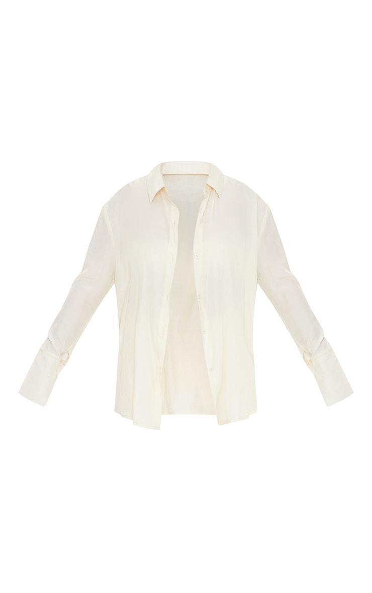 Petite White Plunge Detail Shirt 5