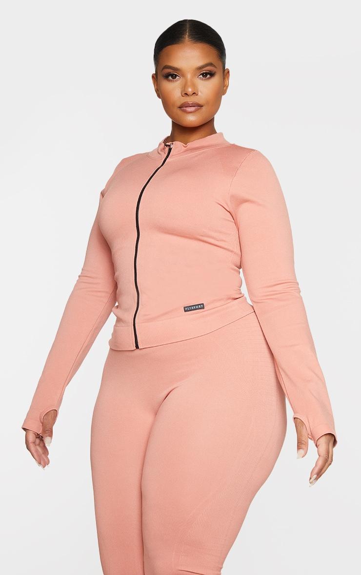Plus Pink Seamless Rib Detail Jacket 1
