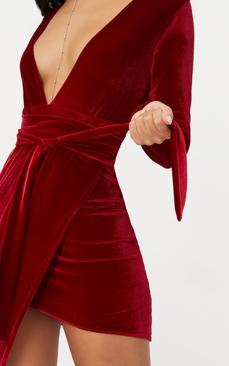 Burgundy Plunge Wrap Detail Long Sleeve Mini Dress 5