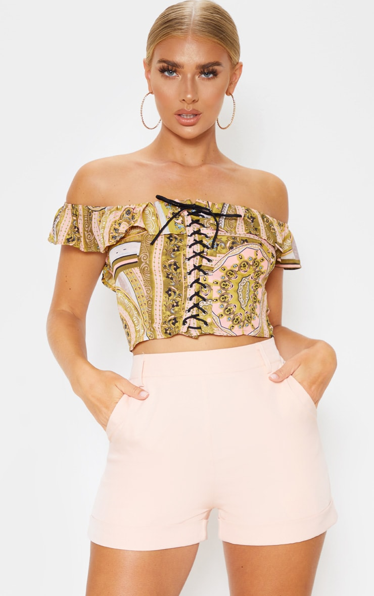 Multi Paisley Lace Up Bardot Frill Crop Top 1