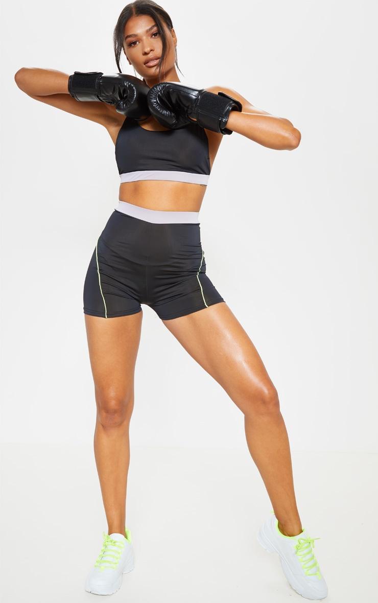 Black Contrast Binding Gym Hot Pants 4