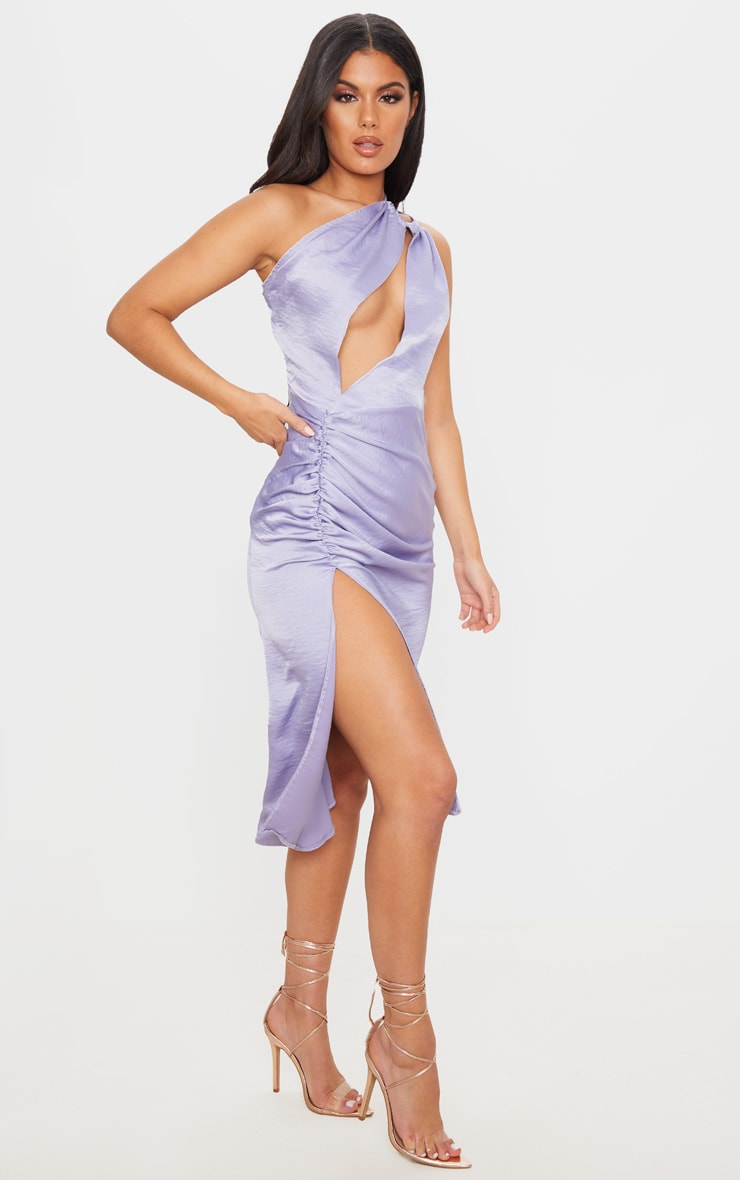 Lilac One Shoulder Double Strap Midi Dress 3