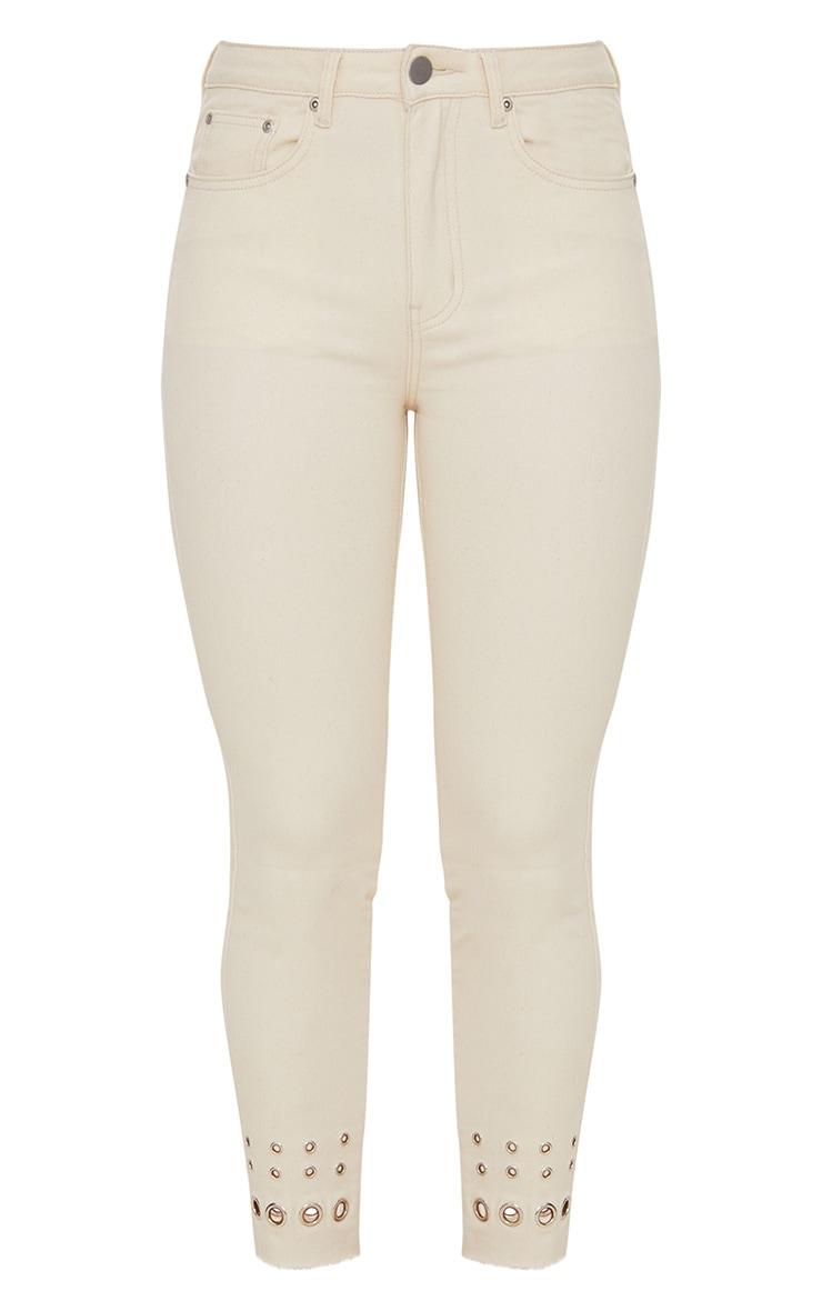 Ecru Eyelet Hem 5 Pocket Skinny Jean 3