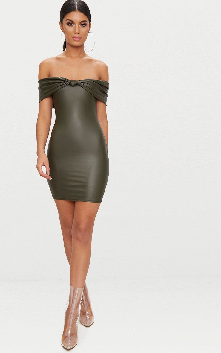 Olive Vinyl Knot Detail Bardot Bodycon Dress 1