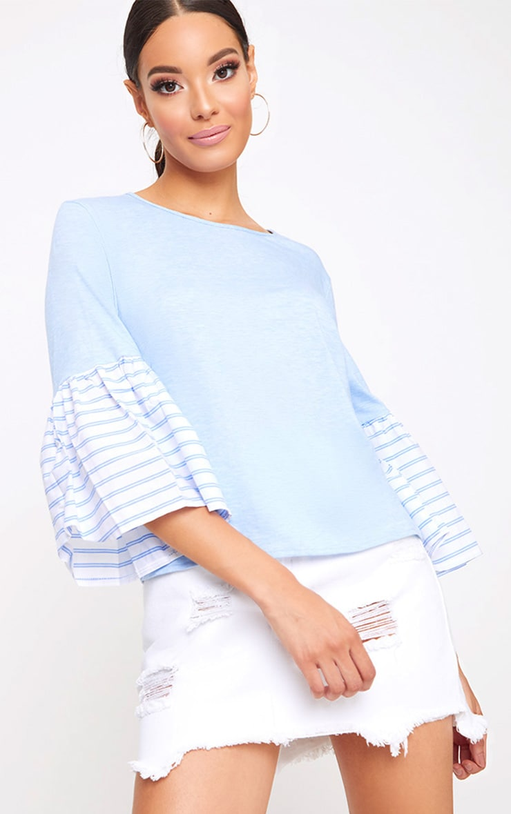 Baby Blue Stripe Frill Sleeve Jersey T Shirt 1