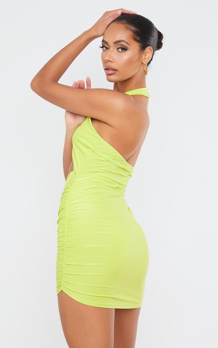 Lime Slinky Halterneck Bust Detail Bodycon Dress 2