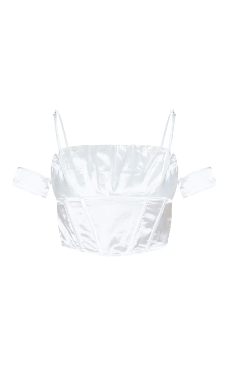 White Satin Ruched Bust Off the Shoulder Corset  3