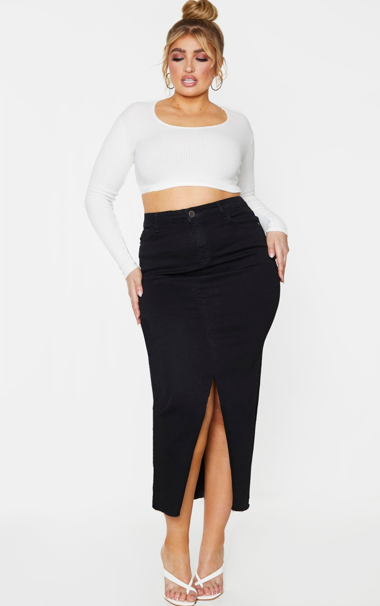 Plus Black Denim Split Hem Midaxi Skirt 1