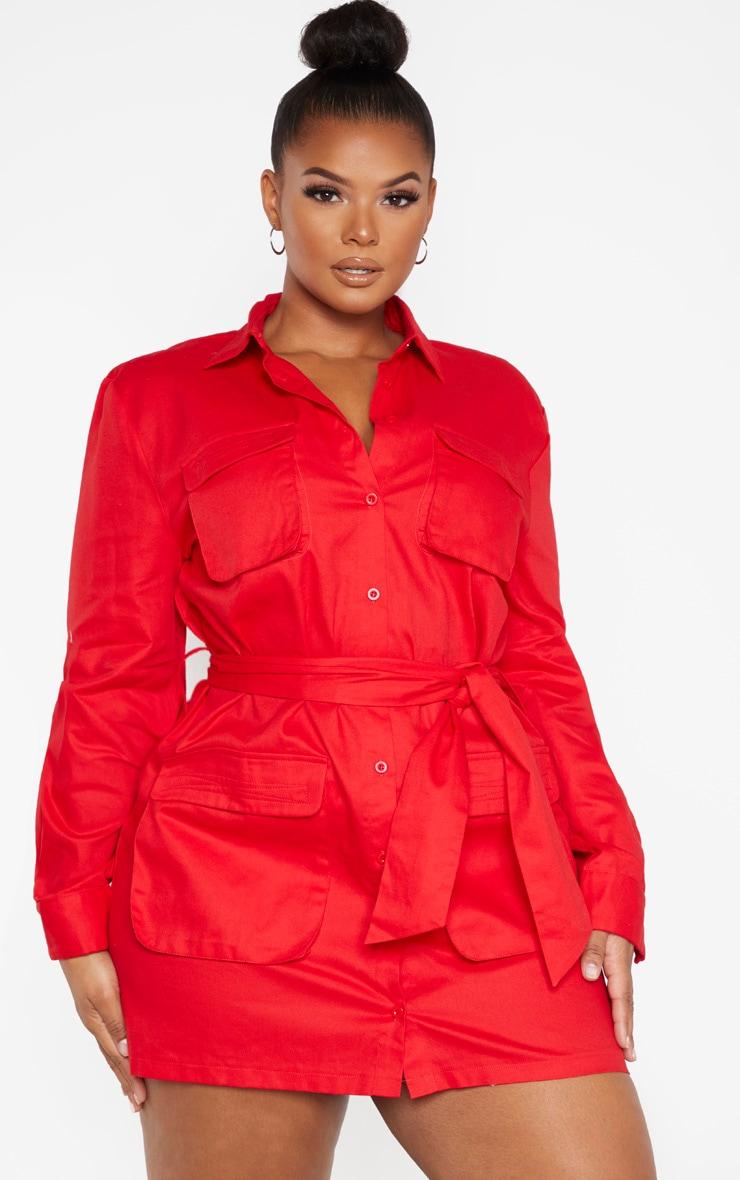 Plus Red Utility Shirt Dress