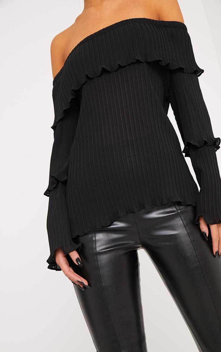 Carly Black Pleated Bardot Frill Sleeve Blouse 5