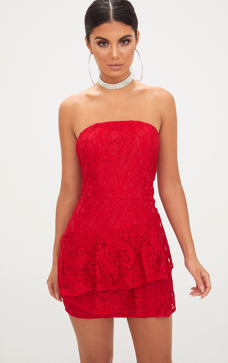 Red Lace Frill Overlay Bandeau Bodycon Dress 1