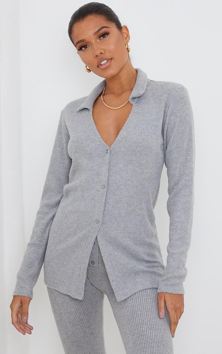 Light Grey Brushed Rib Button Front Long Sleeve Shirt 1