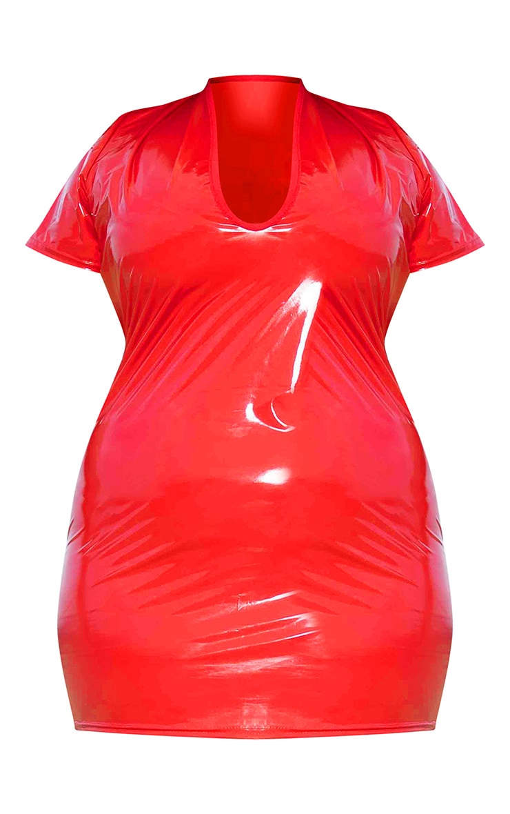 Plus Red Vinyl Plunge Front Bodycon Dress 5