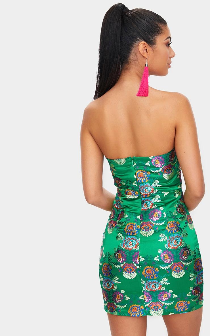 Bright Green Oriental Satin Bandeau Bodycon Dress  2